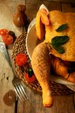 Chicken raw for roasting food culinary art Stock Images