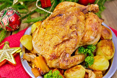 Chicken with red Christmas toys on board Stock Photos