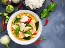 Chicken red curry traditional  Thai food. Royalty Free Stock Photos