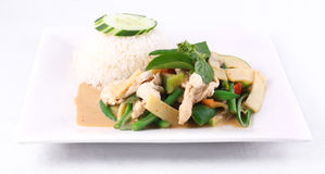 Chicken red curry with rice, Thai food. Royalty Free Stock Images