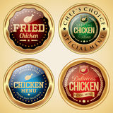 Chicken Restaurant Badge Collection. Golden badge collection of chicken restaurant Royalty Free Stock Images