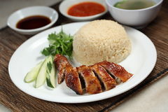 Chicken Rice. Chinese roast chicken rice with butter rice Royalty Free Stock Photography