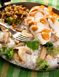 Chicken and Rice. Chicken breast with rice and mushrooms Stock Image