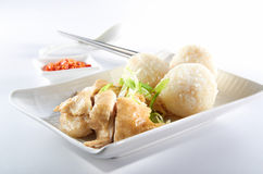 Chicken Rice. Ball with chicken meat on clean background Stock Photo