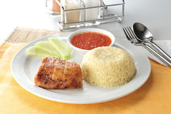 Chicken rice. Rice with a piece of delicious chicken Royalty Free Stock Images