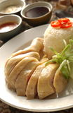 Chicken rice. A plate of chicken be serve with a big size drumstick, rice and sauces Royalty Free Stock Photos