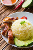 Chicken rice. Asian style hainan chicken rice Royalty Free Stock Images