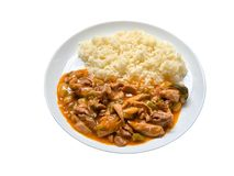 Chicken and rice asian style plate Royalty Free Stock Photos
