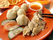 Chicken rice ball. The typical Melaka food - Chicken rice balls with chilli sauce royalty free stock photography