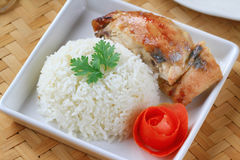 Chicken rice on bamboo floor Royalty Free Stock Images