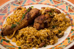 Chicken with rice and beans Stock Photos