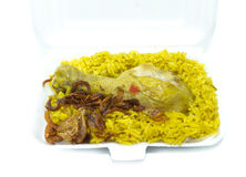 Chicken Rice Curry, indian food, in food tray Stock Photography