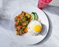 Chicken rice egg. Chinese basil chicken Asian fried rice with poached egg royalty free stock images