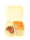 Chicken with rice in food container Stock Image