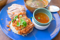 Chicken rice, fried chicken and boil chicken with rice. Thai food stock photography