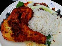 Chicken rice in malay culture. Chicken rice with Nasi lemak taste in Malaysia royalty free stock photography