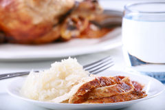 Chicken and rice meal Stock Image