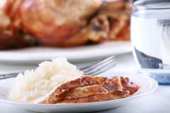 Chicken and rice meal Stock Photos