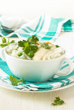 Chicken and rice  noodle soup  with peas Royalty Free Stock Photos