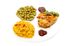 Chicken with rice and peas Royalty Free Stock Photography