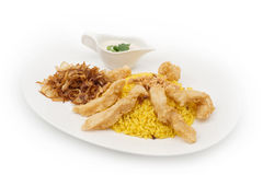 Chicken and Rice plate served with tartar Royalty Free Stock Photography