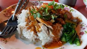 Chicken on rice. With pour sauce. Food  thai style Royalty Free Stock Photography