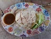 Chicken Rice is a savory dish of Thai and Chinese. It is expected that this kind of food is published by the Chinese stock images