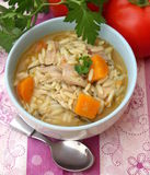 Chicken rice soupe. A stew of chicken meat peas and carrots Royalty Free Stock Photos