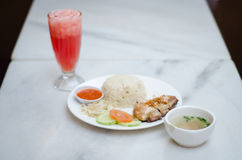 Chicken Rice. Rice with steamed chicken and some vegetables stock photos