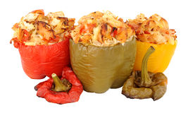 Chicken And Rice Stuffed Roasted Sweet Peppers Stock Image