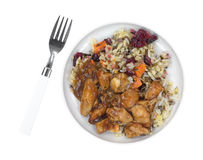 Chicken with rice TV dinner on small plate with fork Royalty Free Stock Images