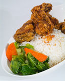 Chicken with rice and vegetables in background Royalty Free Stock Photo