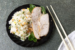 Chicken with rice and vegetables on a plate Royalty Free Stock Photography