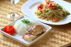 Chicken rice wiyh green papaya salad Royalty Free Stock Photos