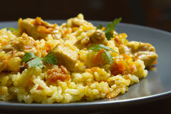 Chicken risotto with curry. On a blue plate Stock Photography