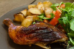 Chicken roast dinner with salad Stock Images