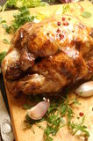 Chicken roast in oven on table for delicious meal Stock Photos