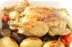 Chicken and roast vegetables side view Stock Images