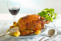 Chicken with roasted potatoes Royalty Free Stock Image