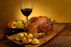 Chicken with roasted potatoes Royalty Free Stock Photos