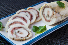 Chicken roll. Stuffed with ham Stock Images