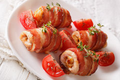 Chicken roll baked with bacon close-up. horizontal Stock Images