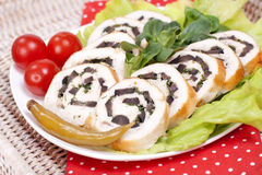 Chicken roll with black olives Royalty Free Stock Image