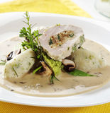 Chicken roll and dumplings in mushroom sauce Royalty Free Stock Images