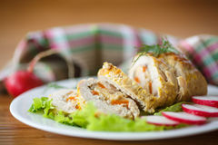 Chicken roll meat Stock Images