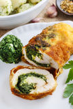 Chicken roll stuffed with spinach and roasted mushroom stock images