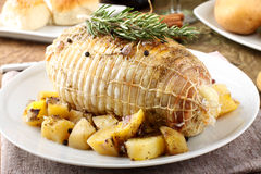 Free Chicken Roll Stuffed With Baked Potatoes Royalty Free Stock Image - 28441536