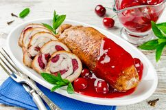 Free Chicken Roll Stuffed With Cherry Stock Photos - 111053853