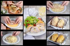 Free Chicken Roll With Greens And Mozzarella In Breading Stock Photo - 122621730