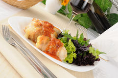 Chicken rolls with cheese Stock Images